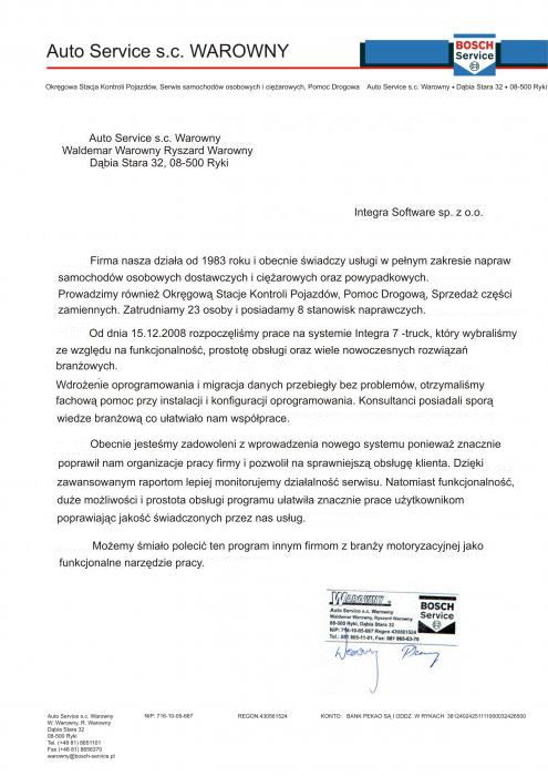 Rekomendacja Auto-Service s.c. Warowny