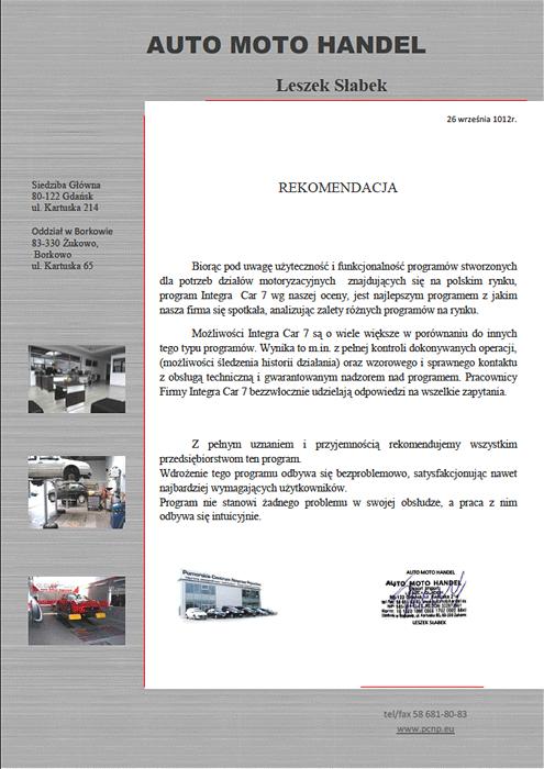Rekomendacja firmy Auto Moto Handel Leszek Słabek