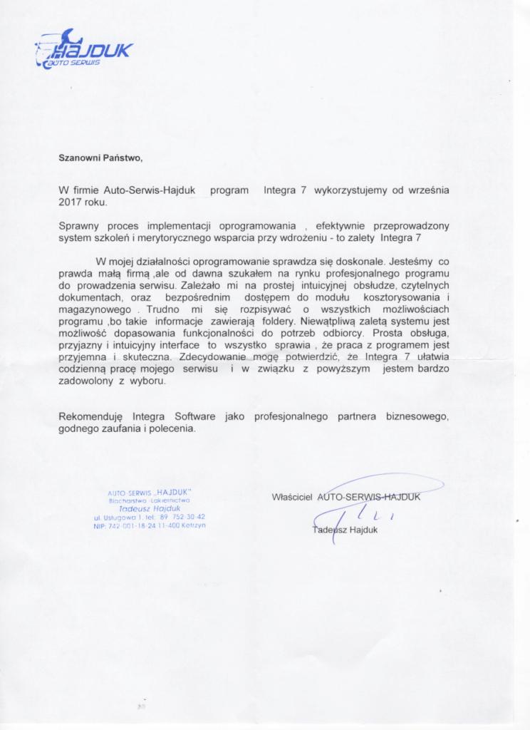 Rekomendacja firmy Auto-Serwis Hajduk