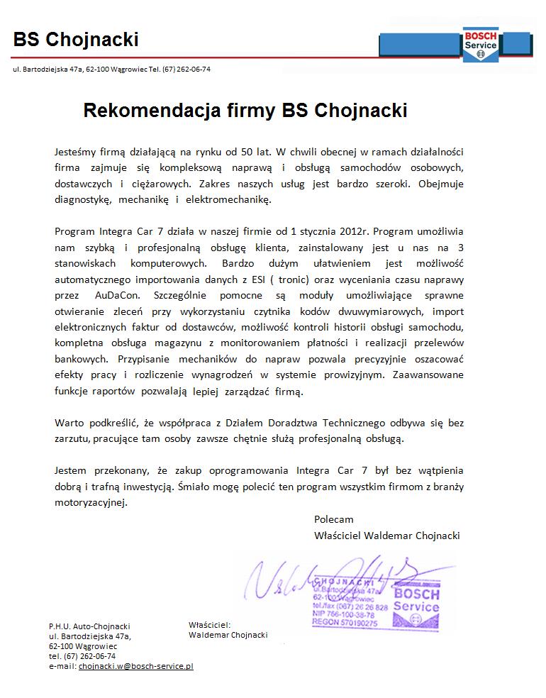 Rekomendacja firmy BS Chojnacki