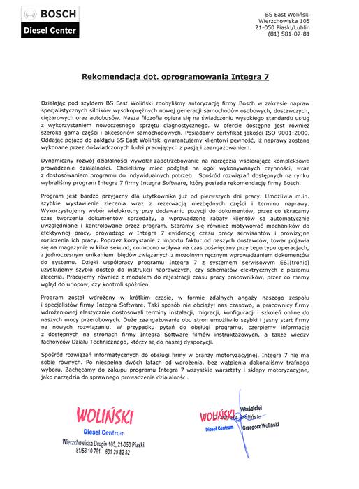 Rekomendacja firmy BS East Woliński