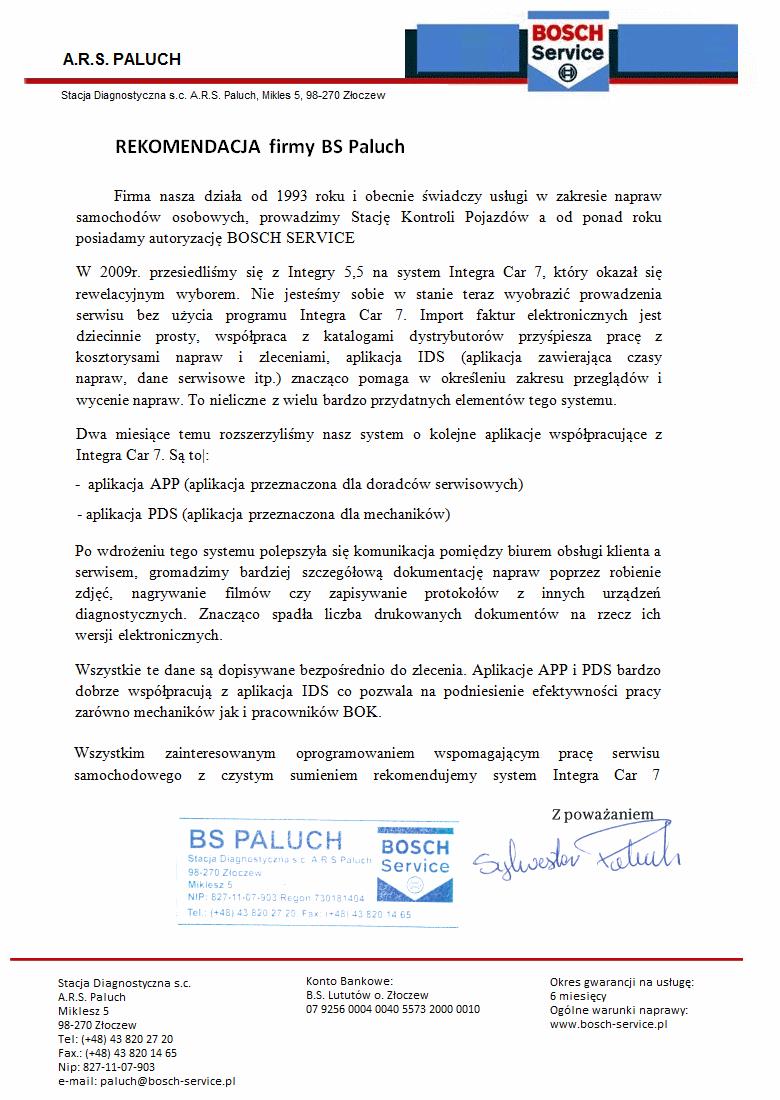 Rekomendacja firmy BS Paluch