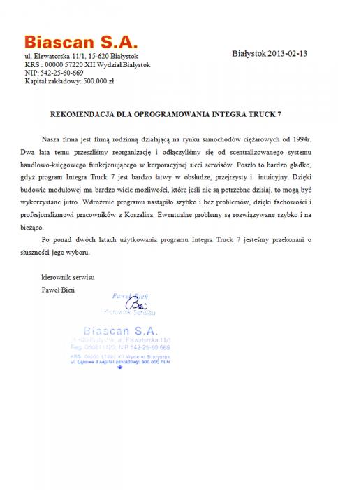Rekomendacja firmy Biascan S.A. – Białystok