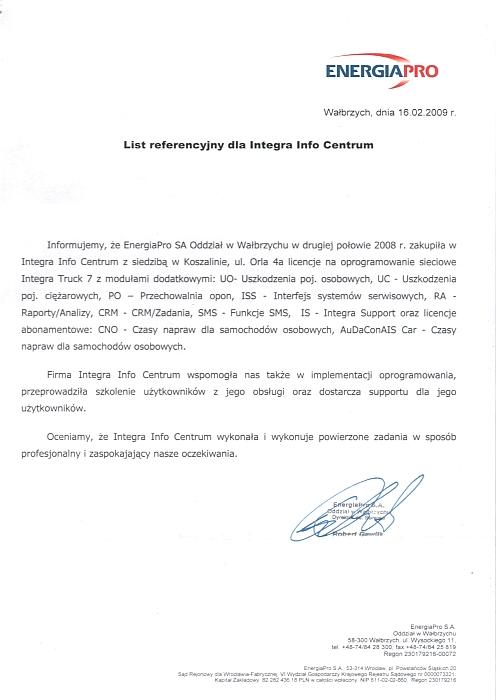 Rekomendacja firmy EnergiaPro GRUPATAURON