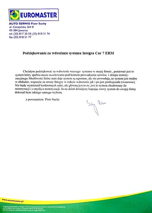 Rekomendacja firmy Euromaster Auto Serwis Piotr Suchy