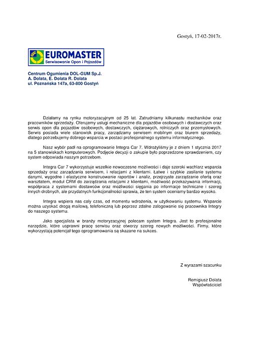 Rekomendacja firmy Euromaster DOL-GUM
