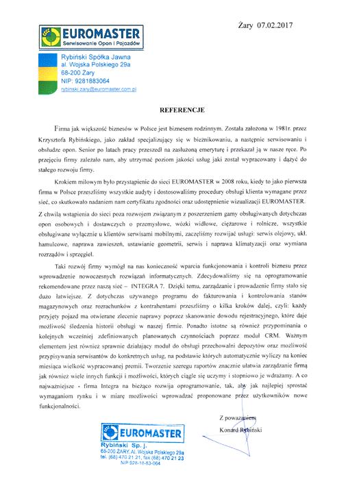 Rekomendacja firmy Euromaster Rybiński