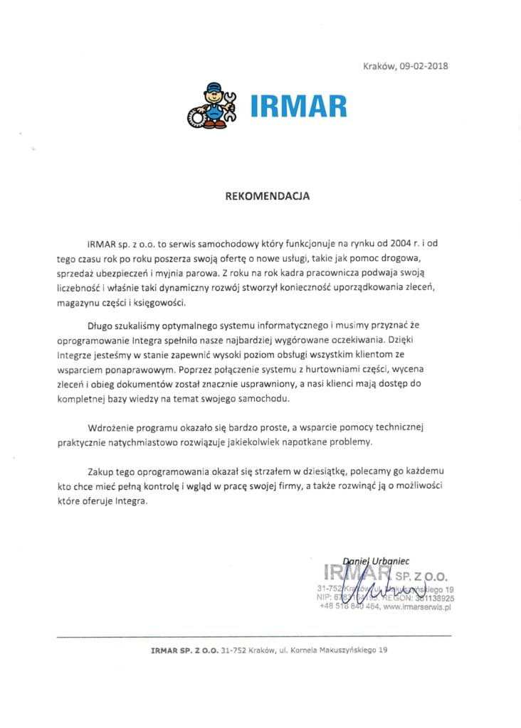Rekomendacja firmy Irmar