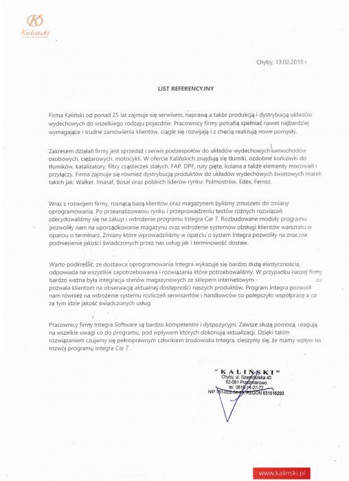 Rekomendacja firmy Kaliński