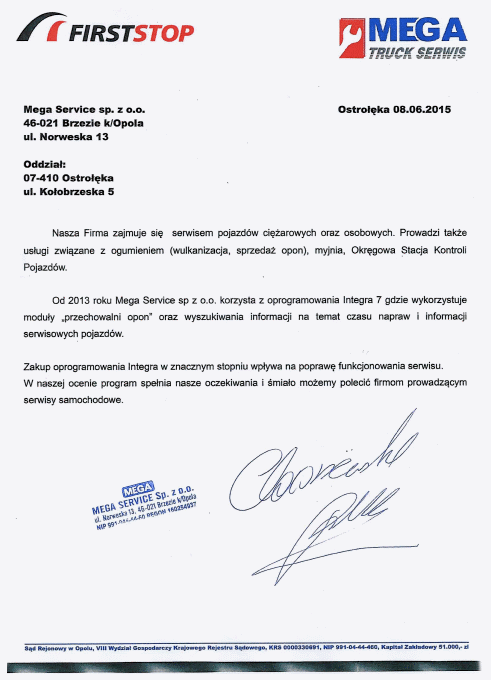 Rekomendacja firmy Mega Service Sp. z o.o.