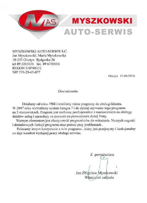Rekomendacja firmy Myszkowski Auto-Serwis