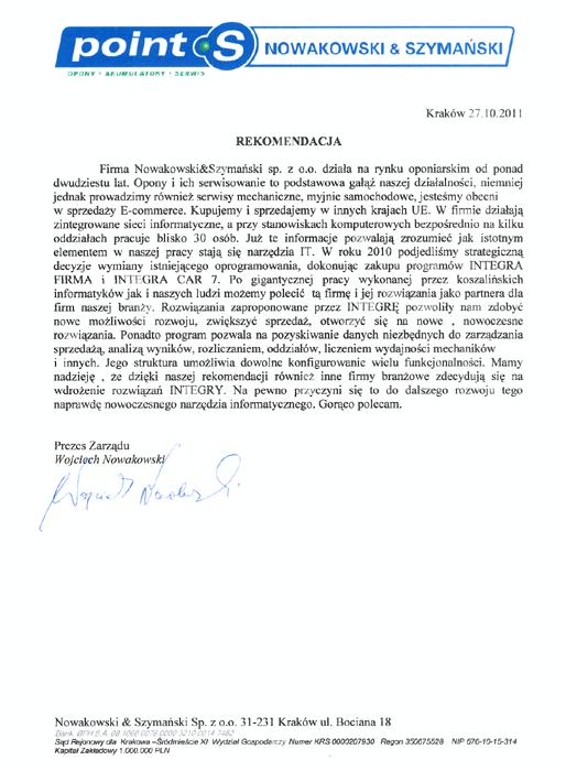 Rekomendacja firmy Nowakowski & Szymański Sp.z o.o.