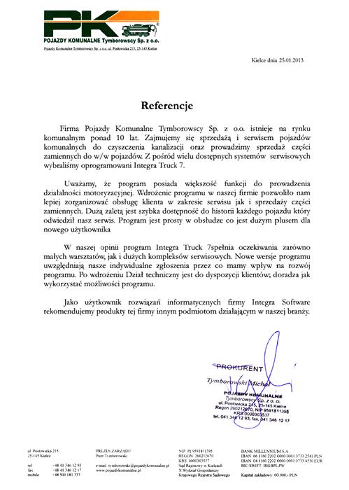 Rekomendacja firmy Pojazdy Komunalne Tymborowscy sp. z o.o.