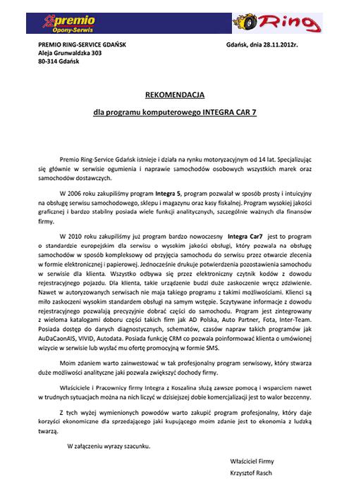 Rekomendacja firmy Premio Ring-Service Gdańsk
