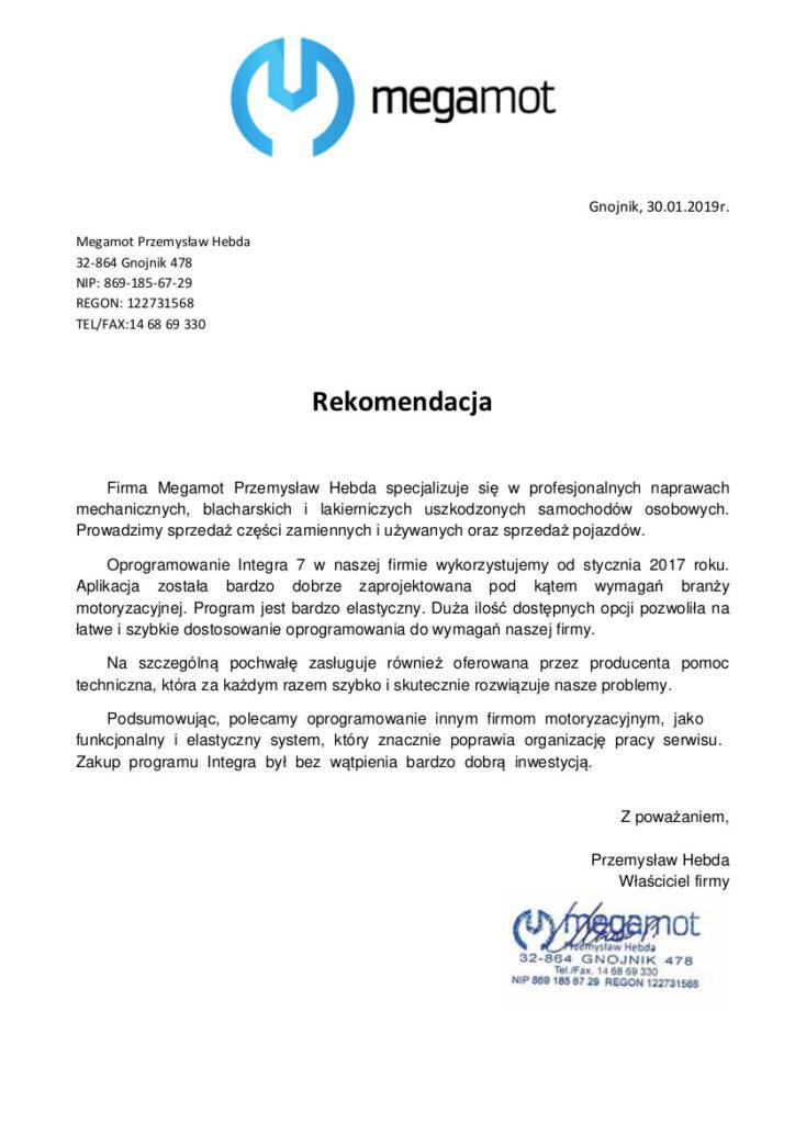 Rekomendacja Rekomendacja Megamot