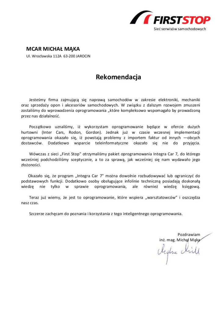 Rekomendacja firmy MCAR Michał Mąka