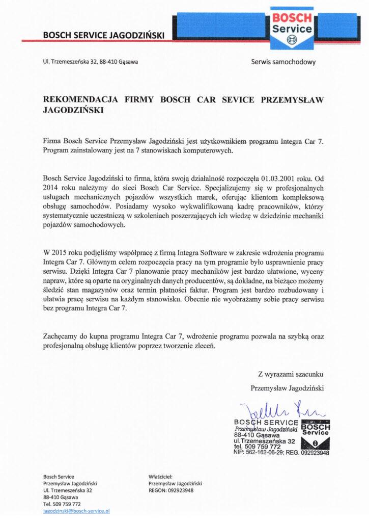 Rekomendacja firmy BS Jagodziński