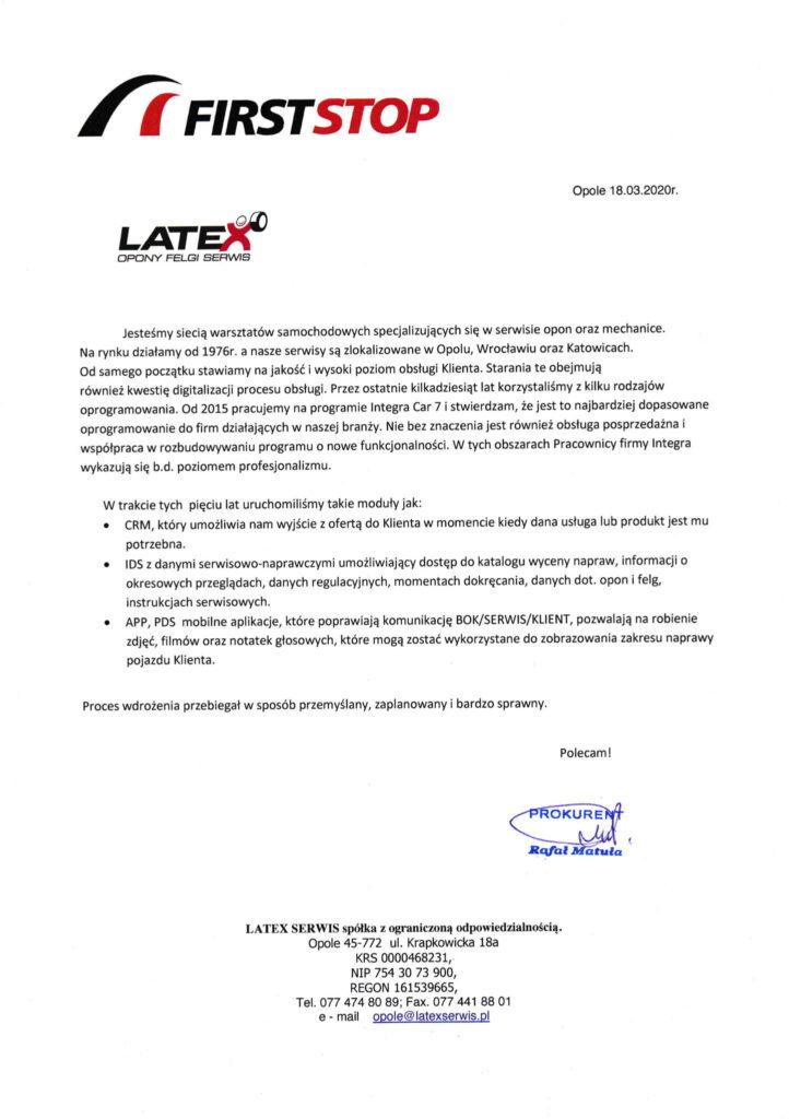 Integra - rekomendacja Latex