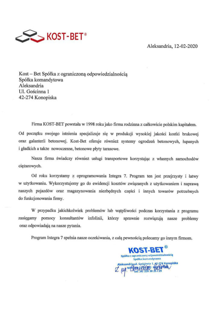 Rekomendacja firmy KOST-BET