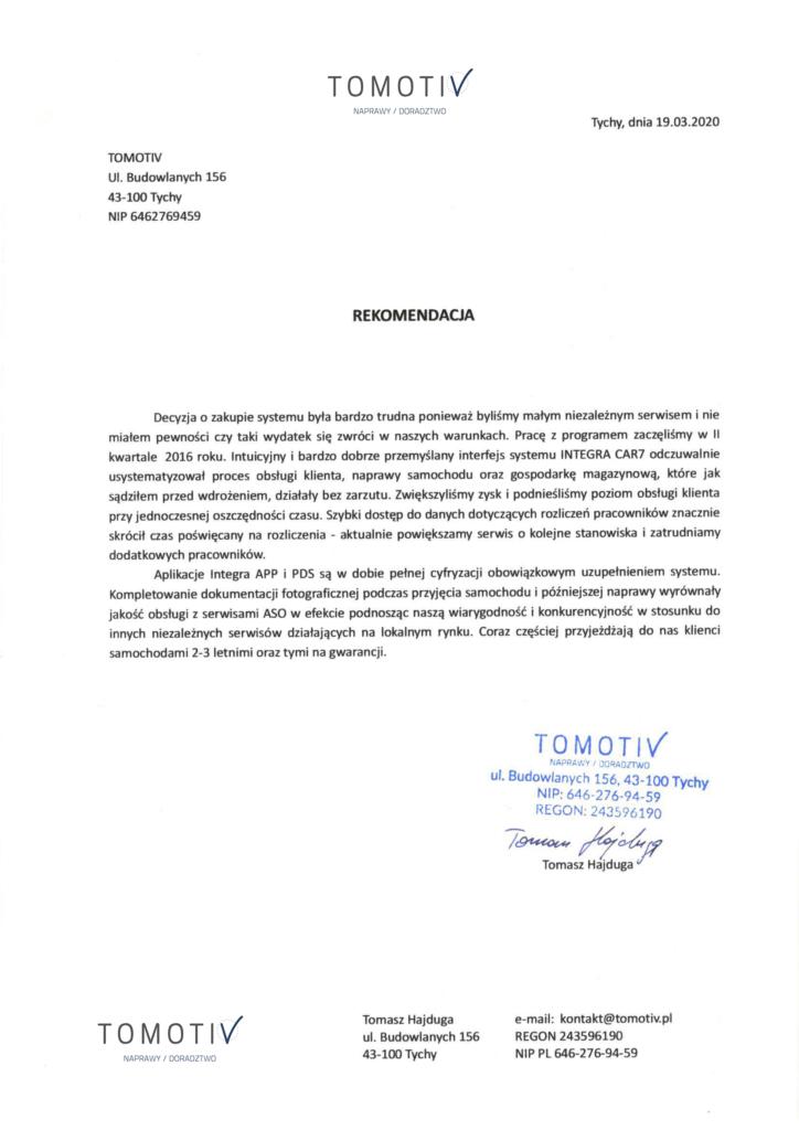Rekomendacja firmy TOMOTIV
