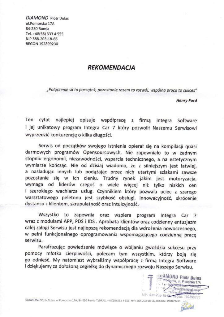 Rekomendacja DIAMOND Piotr Dulas