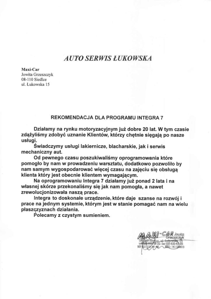 Rekomendacja firmy Auto Serwis Łukowska
