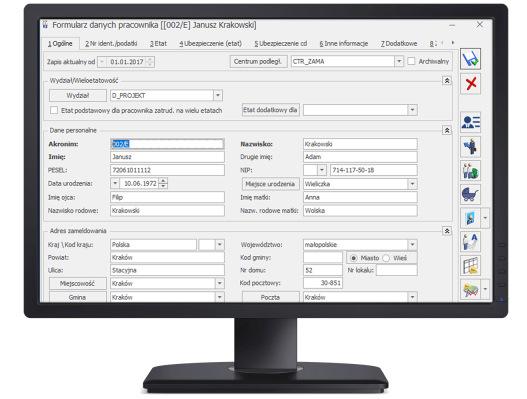 formularz danych kadrowych Comarch Optima