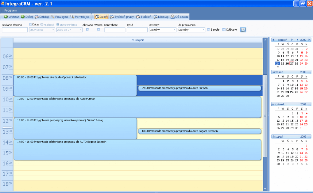 funkcje systemu Integra CRM lista zadań