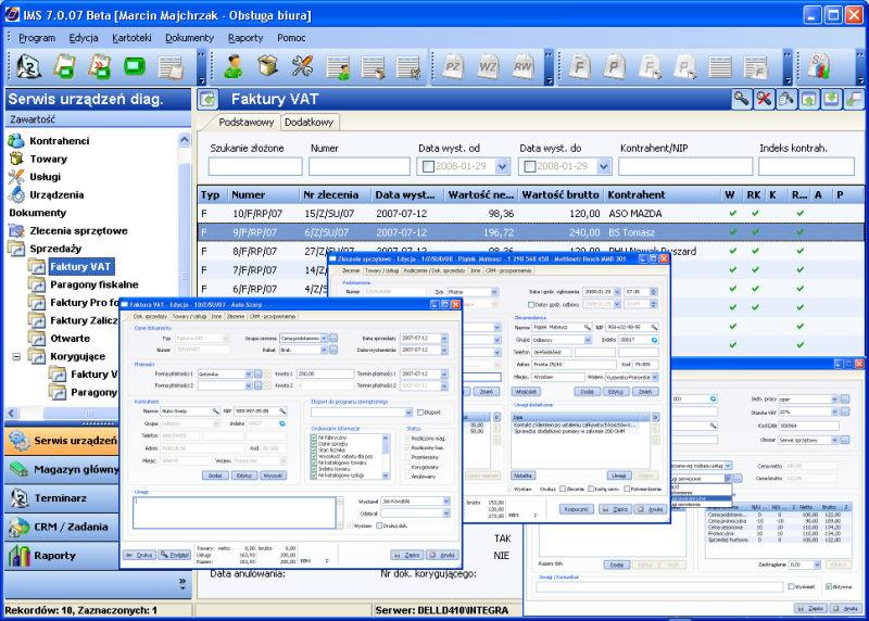 Program do obsługi serwisu Integra Serwis