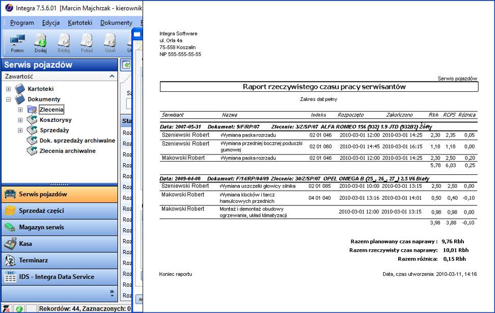 Przykładowy raport w programie do serwisu