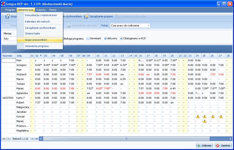 system rejestracji czasu pracy Integra RCP grupy pracowników