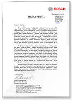 Rekomendacja Bosch sp.z o.o.