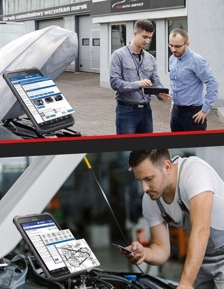 Aplikacje na telefony, tablety dla doradców serwisowych i mechaników